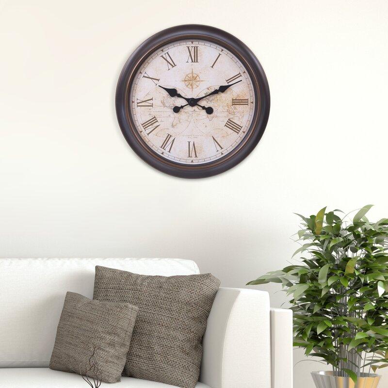 Charlton Home Oversized Schaefferstown World Map Wall Clock | Wayfair