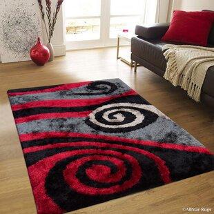 Savings Hand-Tufted Red/Black Area Rug ByAllStar Rugs