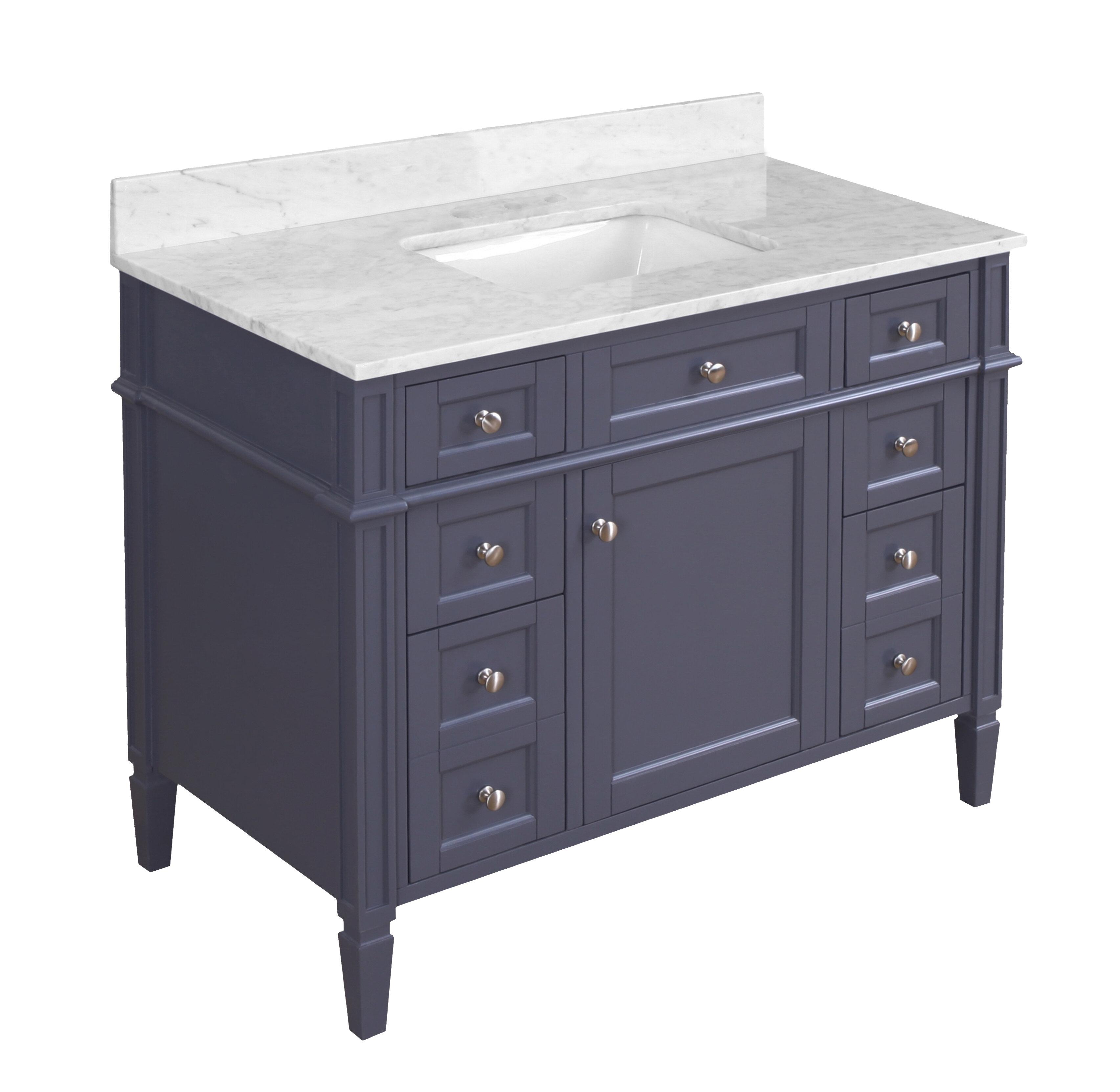 Vanities 28 Jensen Modern Gray Single Bathroom Vanity With White Carrera Marble Top Home Garden Citricauca Com