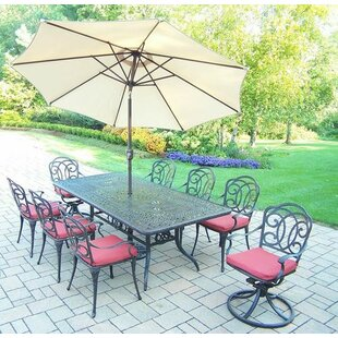 Oakland Living Berkley 9 Piece Dining Set with Cushions