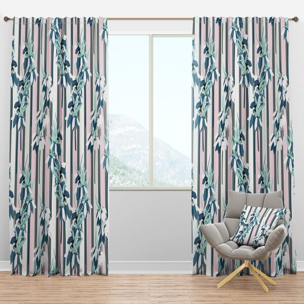 Designart Mid Century Handdrawn Lilies Striped Semi Sheer Thermal Rod Pocket Curtain Panels Wayfair