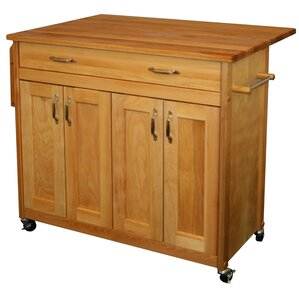 Remsen Kitchen Island with Wood Top by Loon Peak