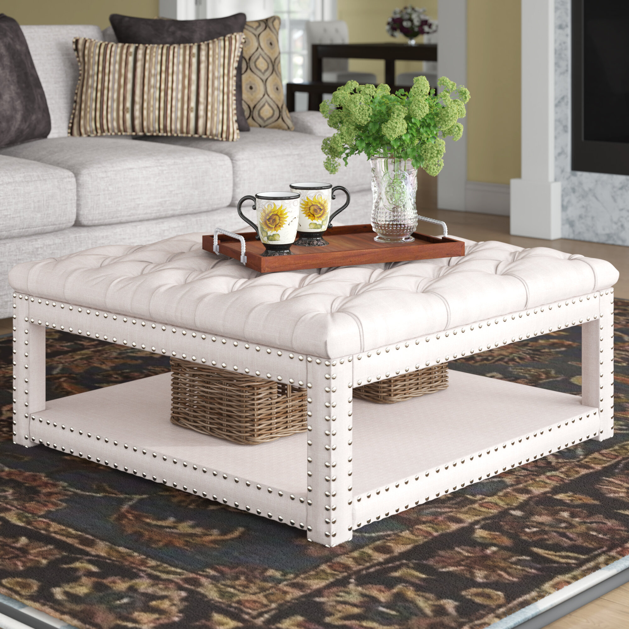Darby Home Co Winbush 40 Wide Tufted Square Cocktail With Storage Reviews