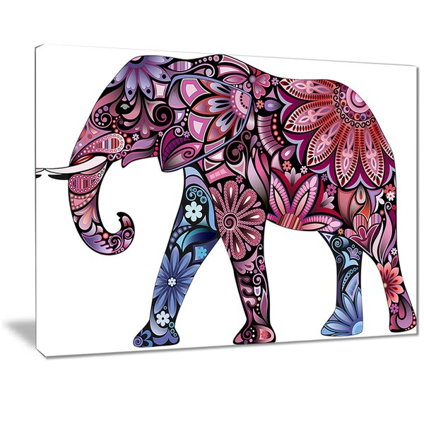 'Purple Cheerful Elephant' Graphic Art Print on Canvas