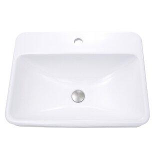 Vitreous China Rectangular Drop-In Bathroom Sink with Overflow ByNantucket Sinks