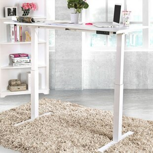 Luciana Minimalist Metallic Height Adjustable Standing Desk by Symple Stuff Bargain