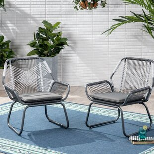 Bungalow Rose Spivey Patio Chair with Cushion (Set of 2)