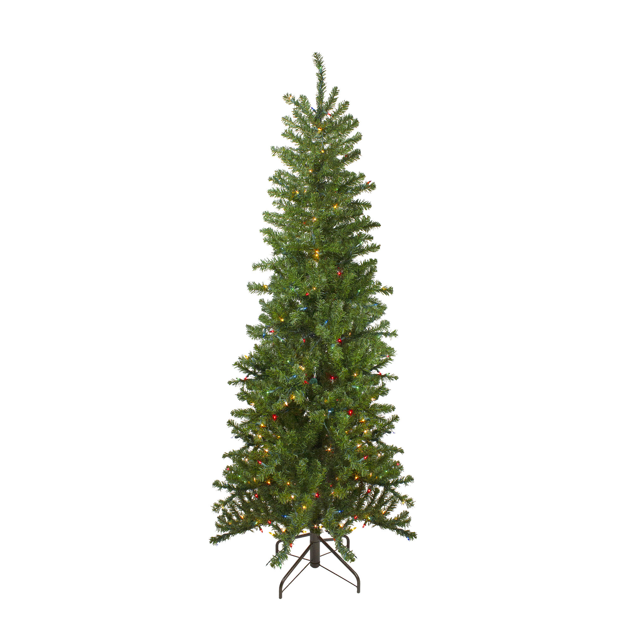 The Holiday Aisle 6 5 Green Pine Artificial Christmas Tree With 400 Multi Color Lights Wayfair