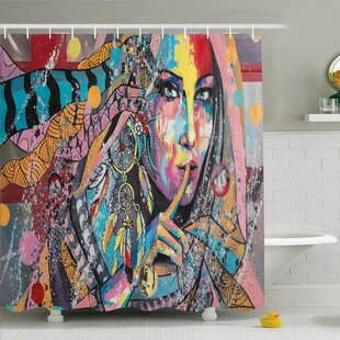 Deals Modern Art Home Talisman Girl with Indian Dreamcatcher and Tribal Murky Boho Paint  Shower Curtain Set By Ambesonne