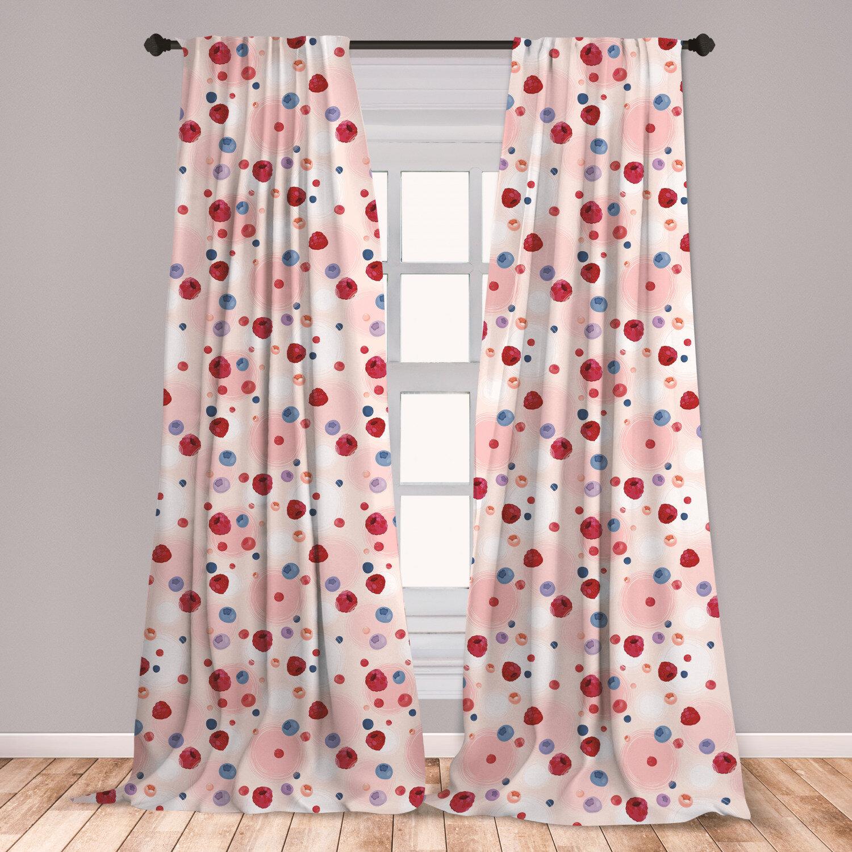 East Urban Home Peach Polka Dots Room Darkening Rod Pocket Curtain Panels Wayfair