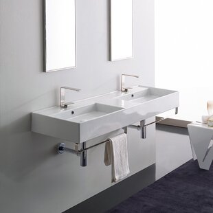 Find for Ceramic 56 Wall Mounted Bathroom Sink with Overflow By Scarabeo by Nameeks