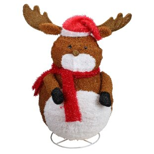 72bf02ef6edd0 Lighted 3-D Chenille Reindeer with Santa Hat Outdoor Christmas Decoration  Lawn Art