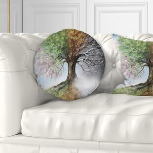Tree Painting Tree with Four Seasons Throw Pillow