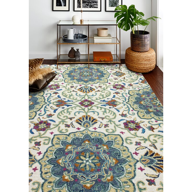 Duguay Floral Handmade Tufted Wool Ivory Green Area Rug Reviews Birch Lane
