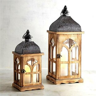 Bloomsbury Market Vintage 2 Piece Wood Lantern Set
