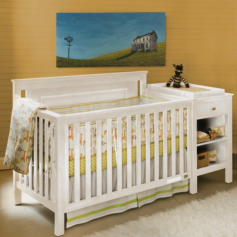 Great Cogan 2 Piece Convertible Crib And Changing Table Set