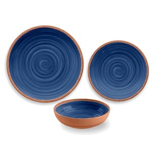 Rustic Swirl Melamine 12 Piece Dinnerware Set, Service for 4