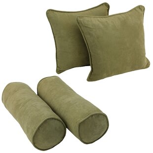 Blazing Needles Solid Twill Throw Pillows 4 Piece Set