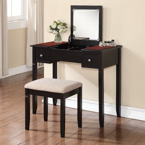 Hilbert Vanity Set with MirrorMakeup Tables and Vanities You ll Love   Wayfair. Desk Vanity Mirror With Lights. Home Design Ideas