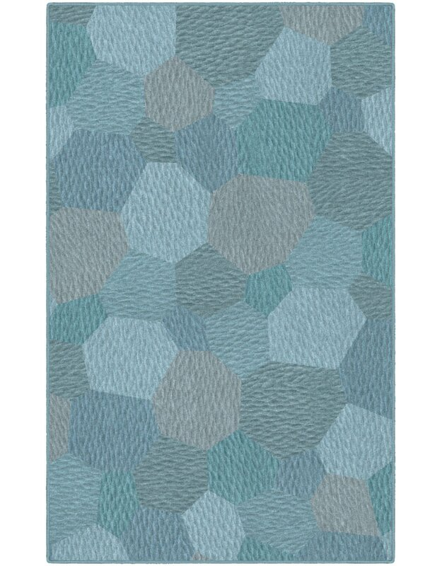 Ebern Designs Burns Teal Area Rug, Size: Rectangle 76 x 10