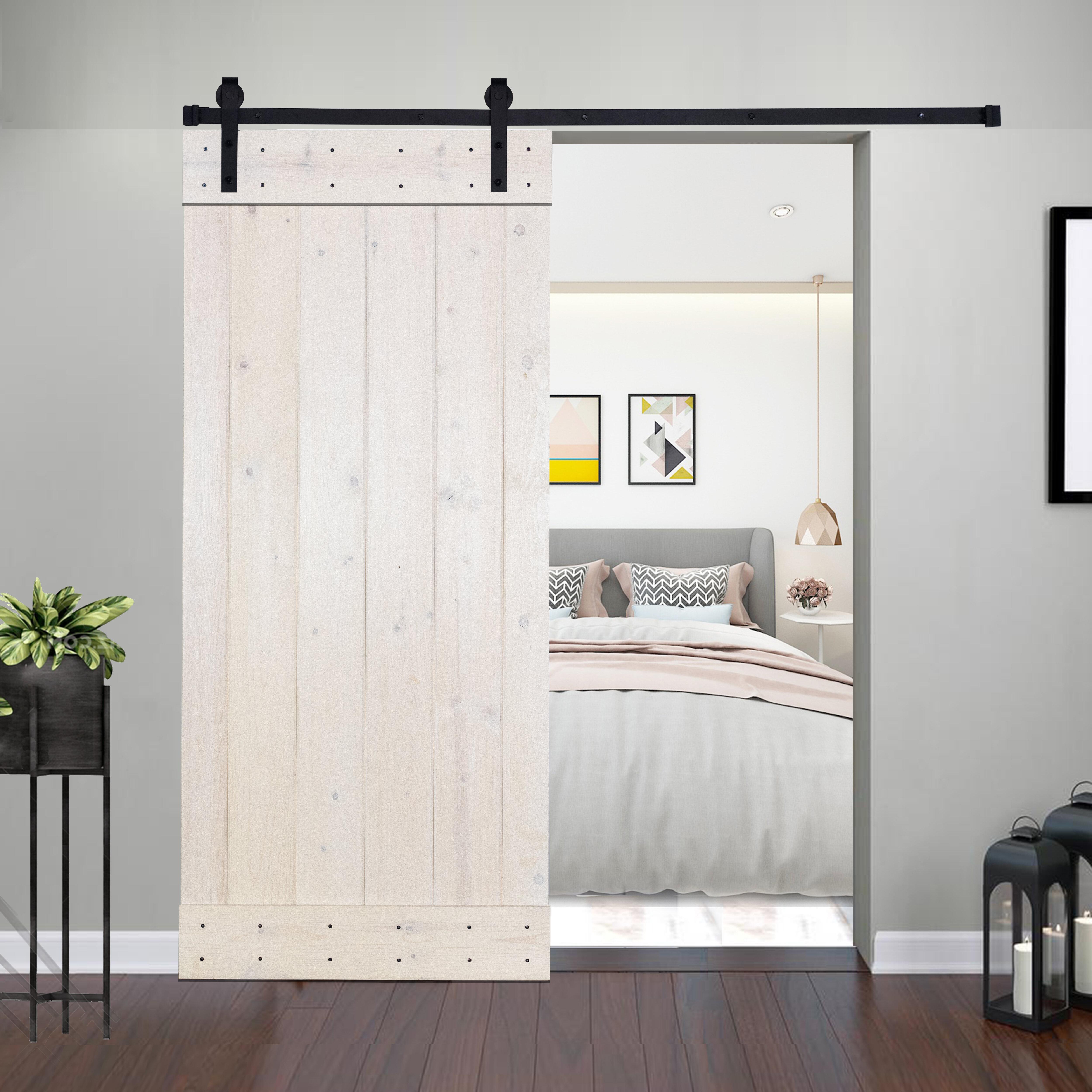 Akicon Paneled Wood Barn Door With Installation Hardware Kit Reviews Wayfair