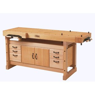 Elite 2000 76W Wood Top Workbench with Cabinet and Accessory Kit Combo by Sjobergs