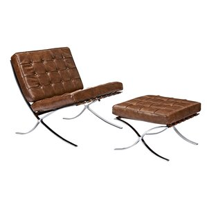 mies lounge chair and ottoman - Leather Lounge Chair