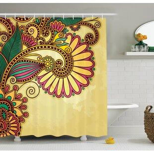 Siclen Paisley Flower Decor Single Shower Curtain by Latitude Run Design
