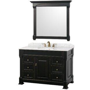 Andover 48 Single Antique Black Bathroom Vanity Set with Mirror ByWyndham Collection