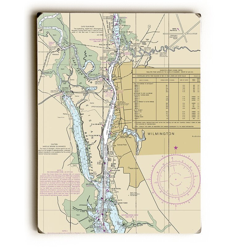 Nc Wilmington Nc Nautical Chart Sign Graphic Art Print On Wood