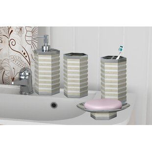 Orren Ellis Spencerian 4 Piece Bathroom Accessory Set