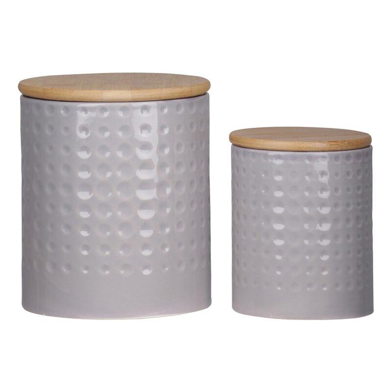 George Oliver Engraved Dots 2 Piece Kitchen Canister Set Wayfair