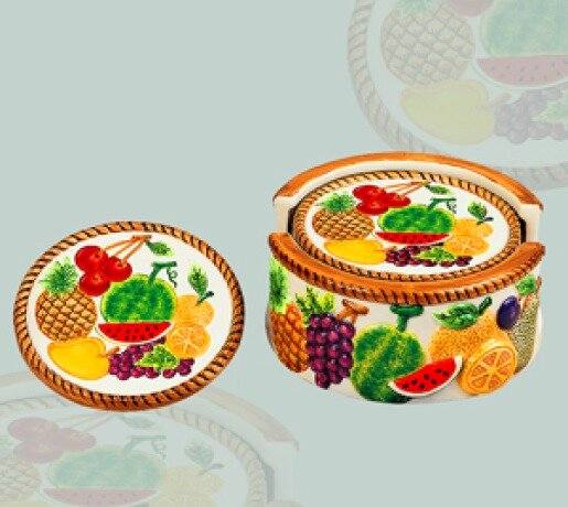 6 Piece Mixed Fruit Coaster Set