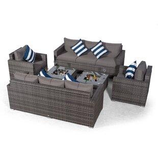 Villatoro Grey Rattan 2 X 3 Seat Sofa + 2 X Armchairs & 2 X Ice Bucket Square Coffee Table, Outdoor Patio Garden Furniture By Sol 72 Outdoor