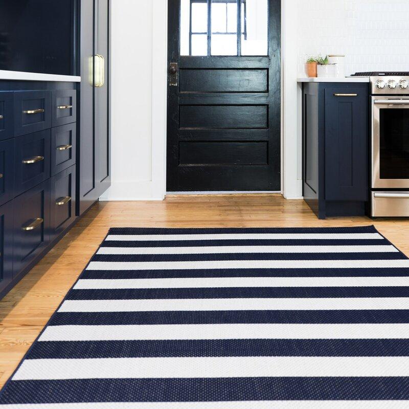 Perine Navy Blue Striped Indoor Outdoor