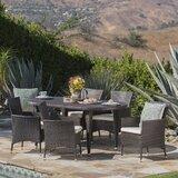 Aquinas Outdoor 7 Piece Dining Set with Cushions byBrayden Studio