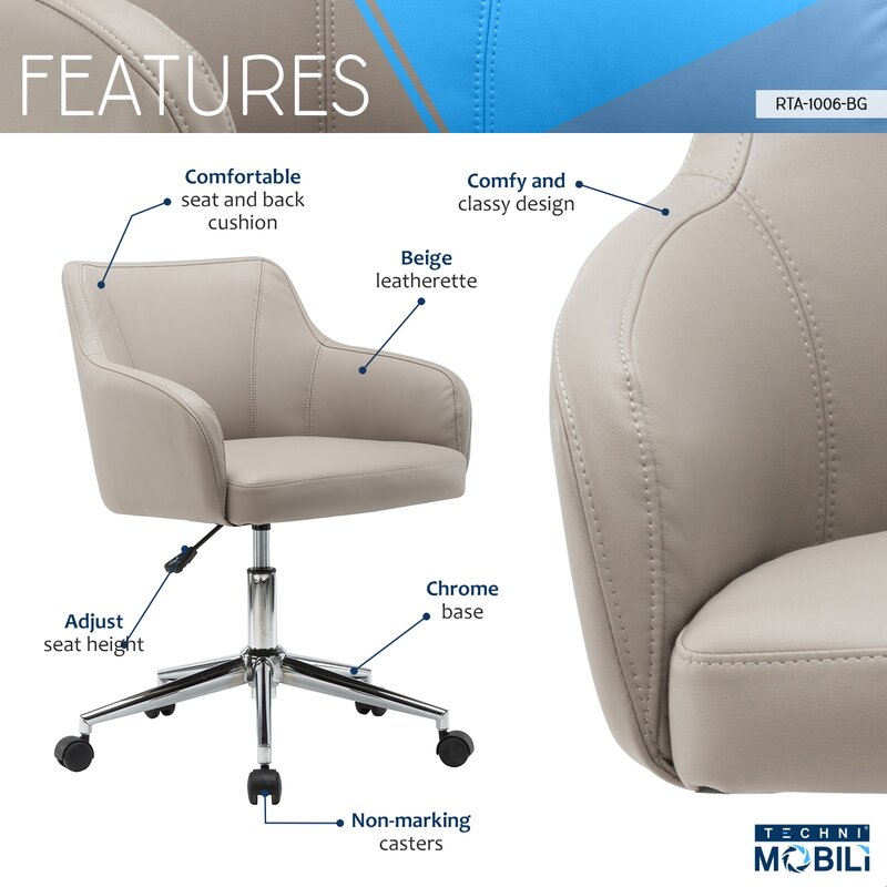 Vance Comfy And Classy Home Office Mid Back Desk Chair