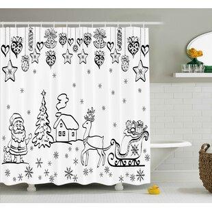 Coleridge Tree Reindeer Santa Shower Curtain ByWinston Porter