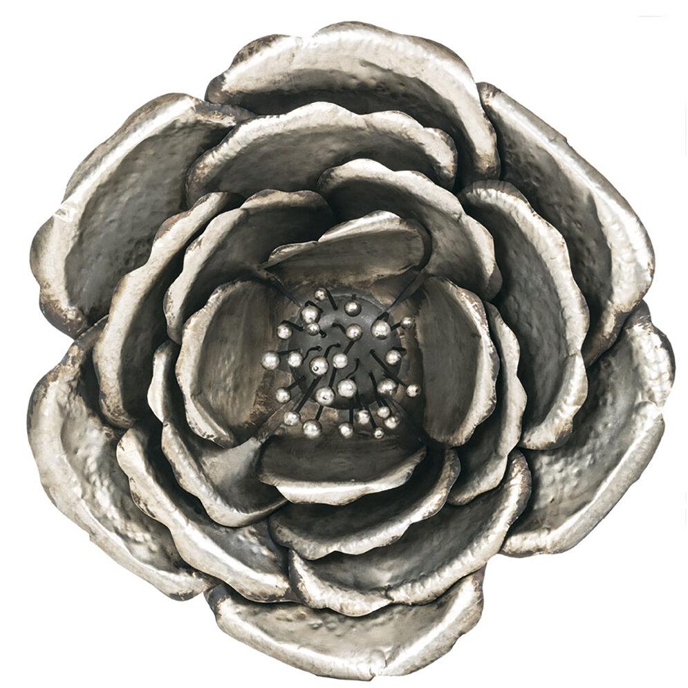 Silver Metal Flower Wall Decor