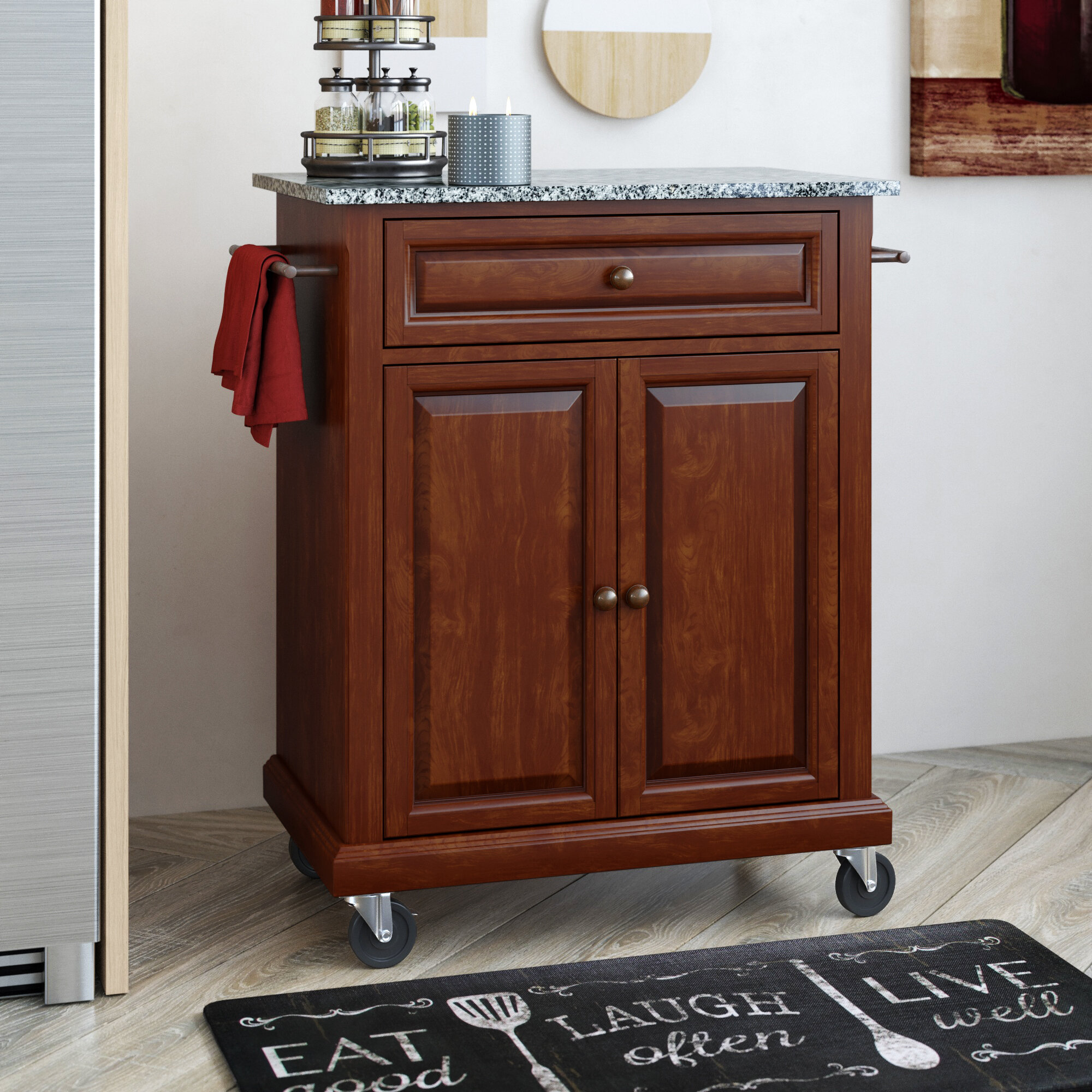 Charmant Three Posts Hedon Portable Kitchen Cart With Granite Top U0026 Reviews | Wayfair