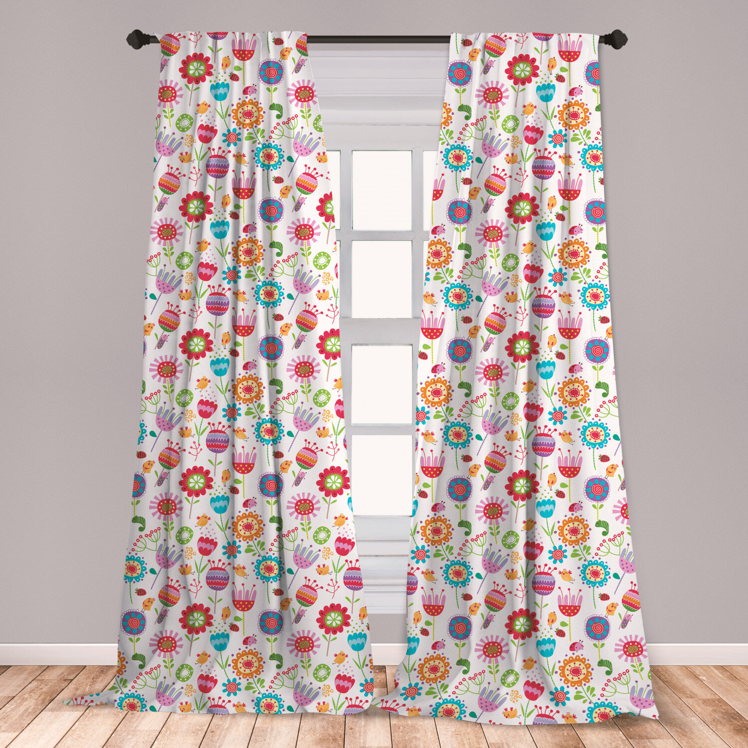 East Urban Home Ambesonne Flower Curtains Playful Garden Colorful Meadow With Blossoming Flowers Strawberries Birds Animals Window Treatments 2 Panel Set For Living Room Bedroom Decor 56 X 63 Multicolor Room Darkening