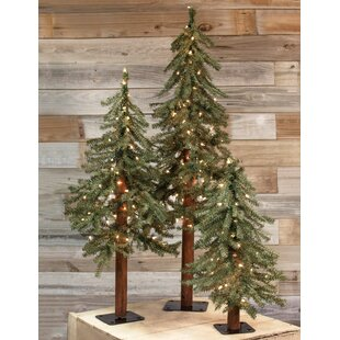 3 piece alpine artificial christmas tree set with clearwhite lights set of 3 - Small Christmas Trees With Lights