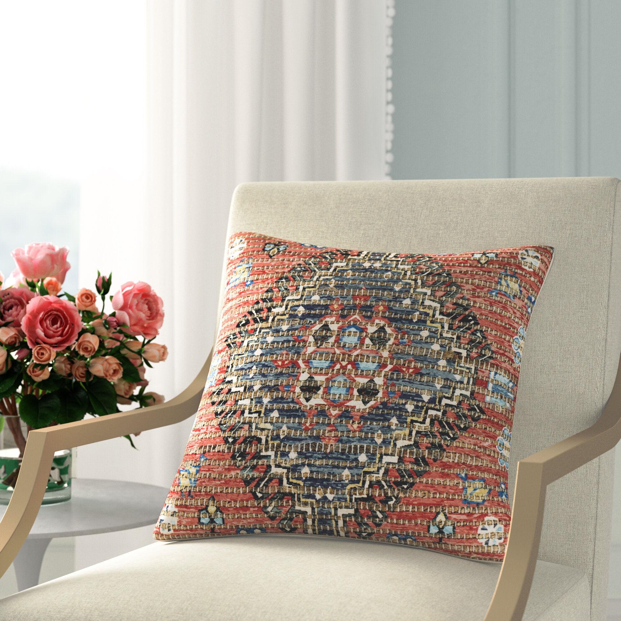 Joss Main Abilene Jute Floral Throw Pillow Reviews Wayfair