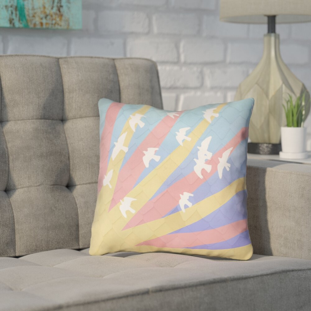 Brayden Studio Enciso Modern Birds And Sun Throw Pillow Wayfair