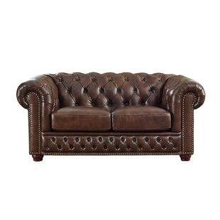 Trent Austin Design Worcester Leather Chesterfield Loveseat