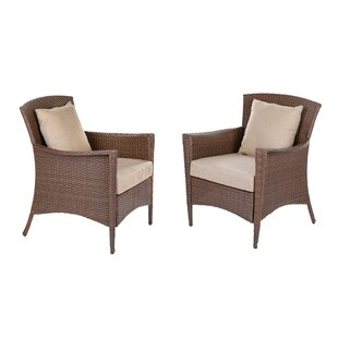 Simoneau Outdoor Garden 2 Piece Patio Dining Chair Set with Cushion