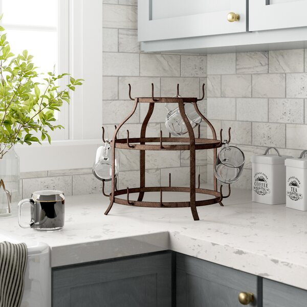 Mug Tree Metal 6 Cup Holder Secure On The Kitchen Counter Available In Colours