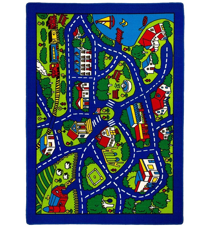 Allstar Rugs Street Map Blue Green Area