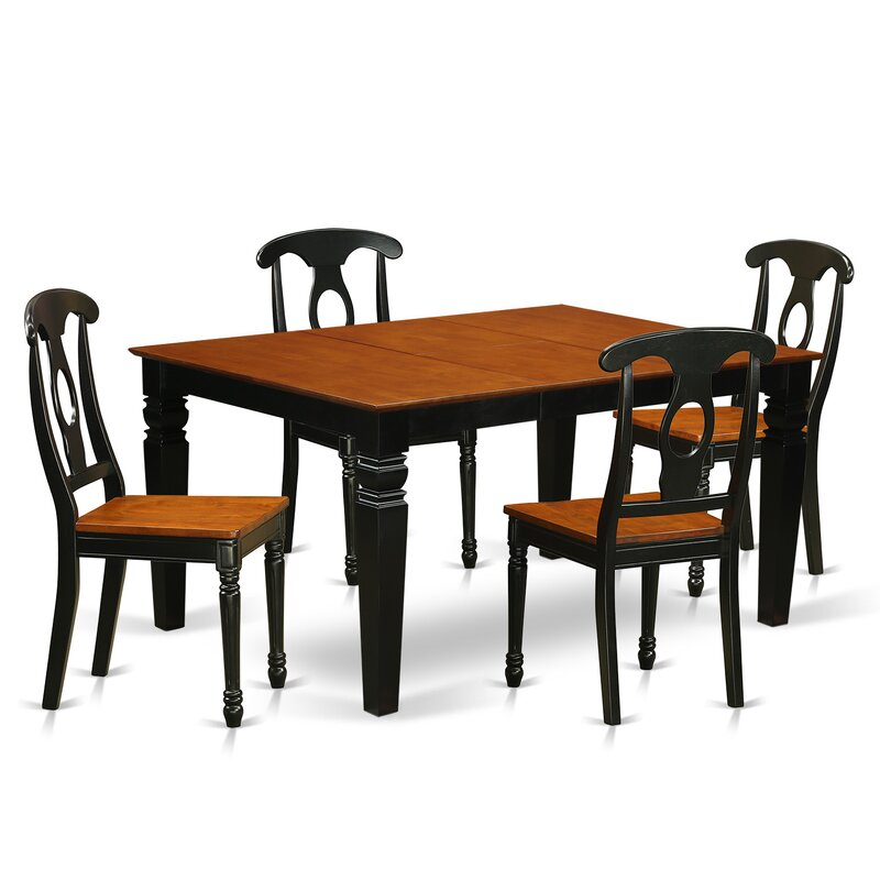 Darby Home Co Beldon 5 Piece Butterfly Leaf Rubberwood Solid Wood Dining Set Wayfair