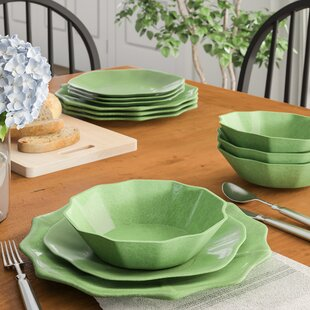 Pearce Linen Melamine 12 Piece Dinnerware Set, Service for 4